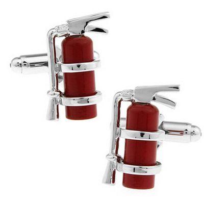 Haut de gamme cadeau rouge matériel pompiers extincteur boutons de manchette manchette ongles Français chemises boutons de manchette en gros amis cadeaux