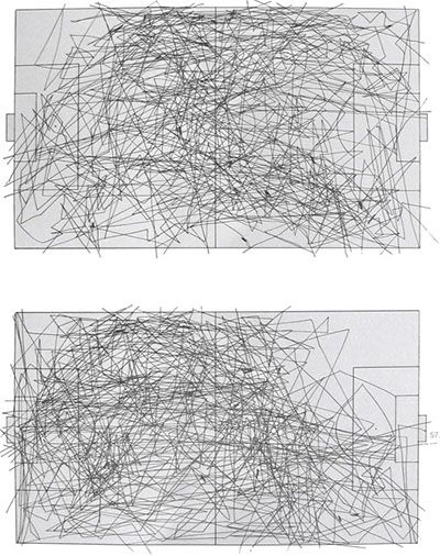 a series of pencil drawn diagrams that trace the ball movements during a soccer game as viewed from above.