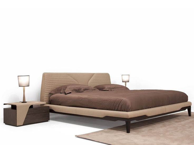 Leather double bed with upholstered headboard V147 | Bed by Aston Martin
