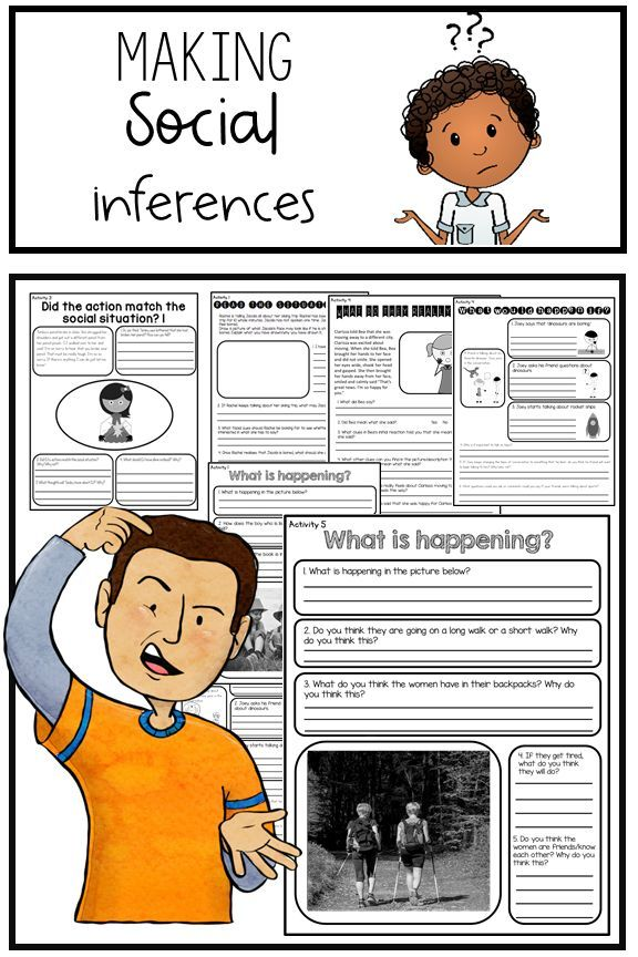 Making Social Inferences Worksheets And Activities Digital And Printables Teaching Social Skills Develop Social Skills Social Emotional Development Social inferences worksheets