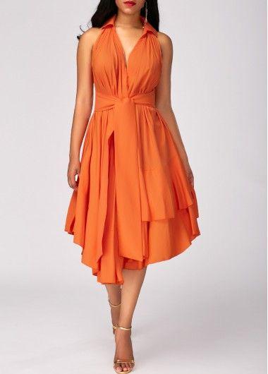 Orange High Waist Asymmetric Hem Layered Dress on sale only US$32.53 now, buy cheap Orange High Waist Asymmetric Hem Layered Dress at liligal.com