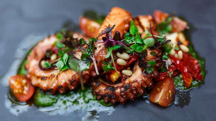 GRILLED OCTOPUS, BASIL PISTOU, SUNDRIED TOMATOES, PINE NUTS by Samson's Paddock, Perth, WA