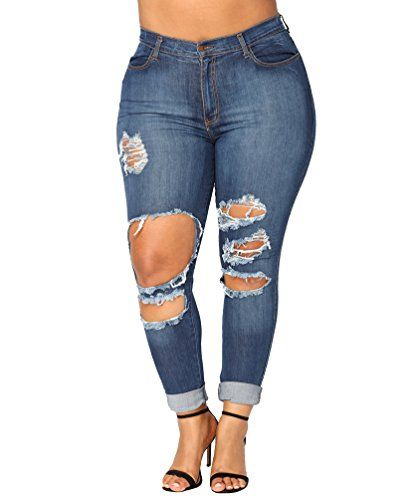 8415d3f8e79d Dooxi Femme Élégante Taille Haute Ripped Jeans Décontractée Grande Taille  Skinny Stretch Denim Pantalons Bleu L