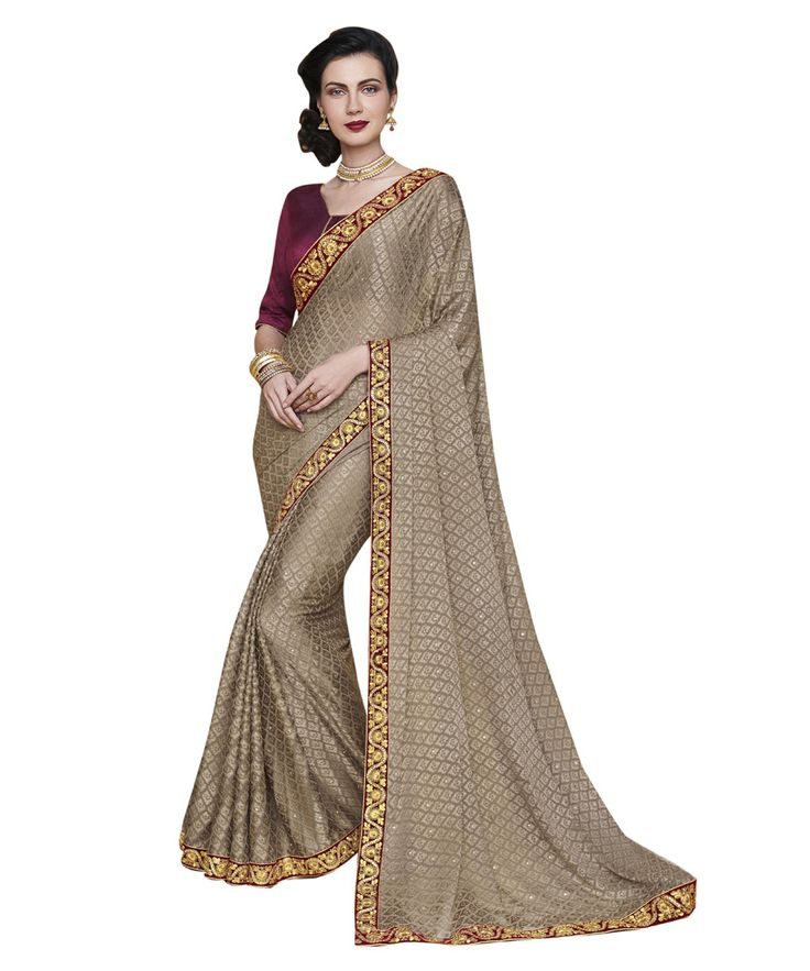 Buy Now Light Brown Fancy Embroidery Brasso Party Wear Saree With Dhupian Blouse only at Lalgulal.com. Price :- 2,712/- inr. To Order :- http://goo.gl/l7c7qc. COD & Free Shipping Available only in India