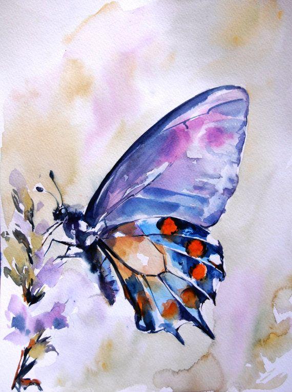 Papillon peinture aquarelle, peinture originale, bleu violet