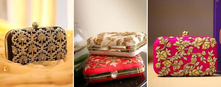 Pamper the ladies at your wedding like they deserve with intricately embroidered box clutches