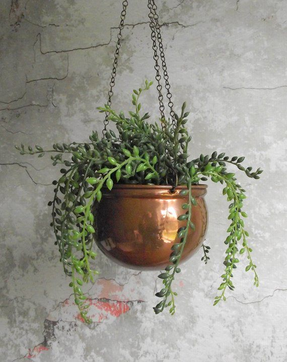Hanging Copper Planter Aged Patina Boho Decor Flower Pot Indoor With Chains Free Shipping