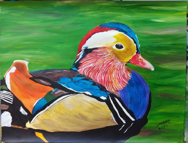 Dessin Peinture acrylique animalière animal canard mandarin 50x65 cm de la boutique vanspeygalleryart sur Etsy