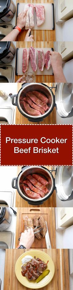 Pressure Cooker Beef Brisket. Tender beef brisket, ready in about an hour and a half thanks to the pressure cooker. | DadCooksDinner.com via @DadCooksDinner