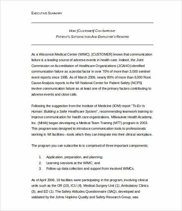 Word Executive Summary Template Fresh 31 Free Sample Example Research Paper Format