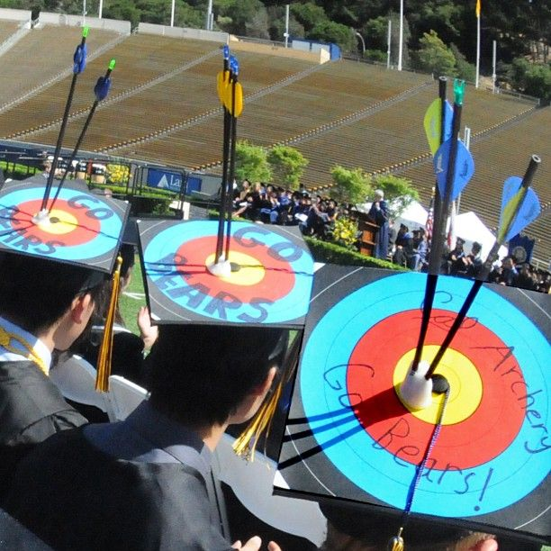Archery club members pay tribute to a favorite passion at Sunday' #commencement. #ucberkeley #cal #calgrad #graduation #gobears #go13ears  Photo by Peg Skorpinski