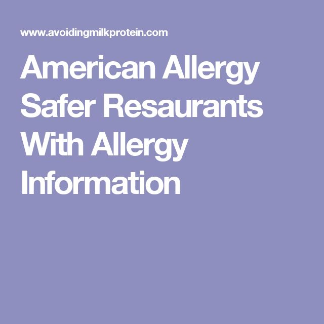 American Allergy Safer Resaurants With Allergy Information