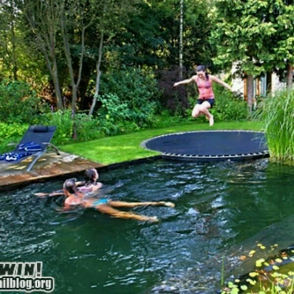 wish in ground trampoline by pool too creative pinterest pools in ground trampoline. Black Bedroom Furniture Sets. Home Design Ideas