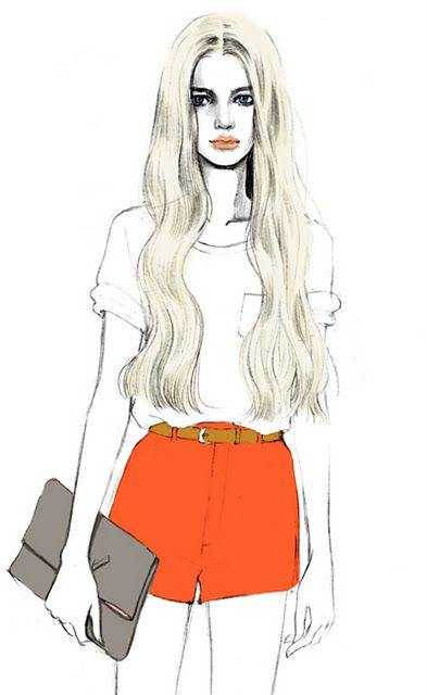 bright orange high wasted shorts with a white tee and grey clutch