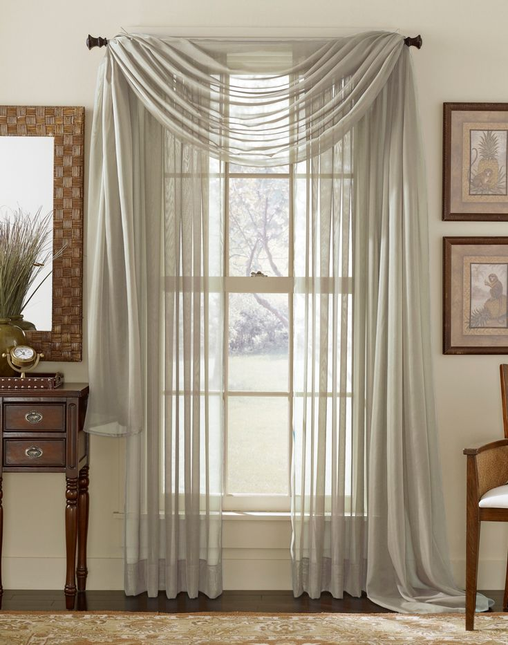 Grey Sheer Panel Window ScarfSheer CurtainsSheer