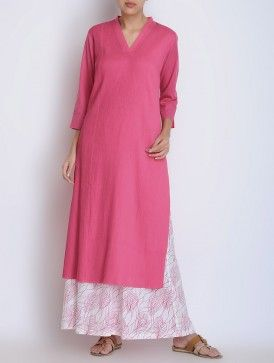Pink Pintuck Detailed V-Neck Cotton Kurta