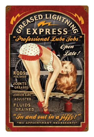 Greased Lightning Express Pin-Up Metal Sign