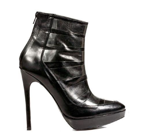 STATHIS SAMANTAS / Calfskin and pvc booties Heel: 12.5cm with 2cm platform