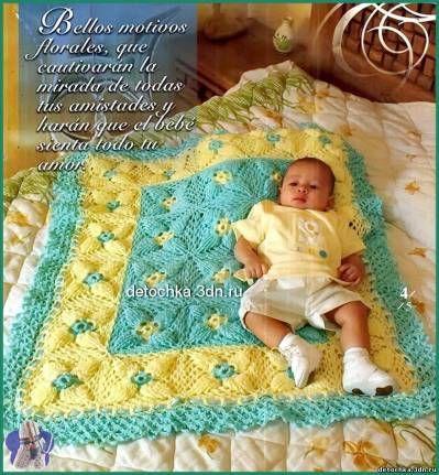 Красивое детское одеяло связанное крючком<br><br>Детское одеяло связанное крючком. Вяжется одеялко из квадратных мотивов. Сочетание цветовой гаммы пряжи делает это вязаное детское покрявало нарядным. Схема вязания детского одеяла.<br><br>Схема вязания квадратного мотива