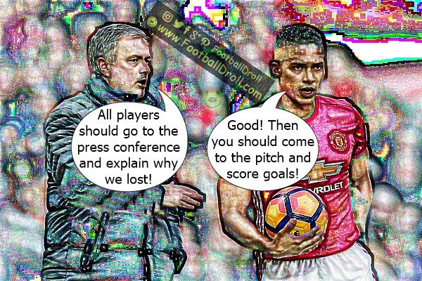 José Mourinho Wants His Players to Go to the Press Conference and Justify Defeat #Mourinho #Valencia #Conte #Pogba #ManUnited #Chelsea #CL #EPL #ManchesterUnited #Ibrahimovic #Mkhitaryan #ManCity #EuropaLeague #Arsenal #Liverpool #Messi #Ronaldo #FCBarcelona #Jokes #Comic #Laughter #Laugh #Football #FootballDroll #Funny #CR7 #RealMadrid