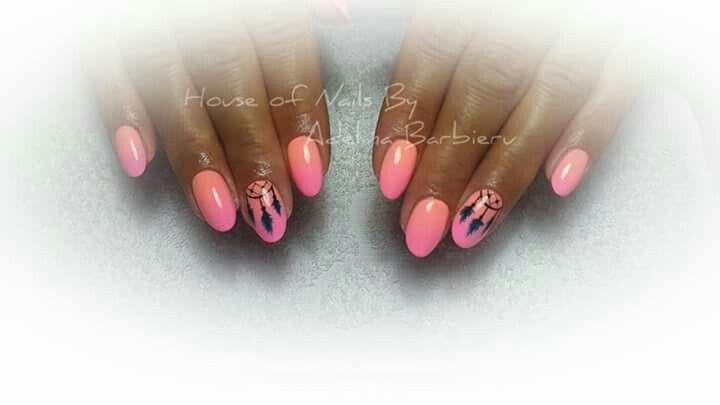 Neon pink nails design