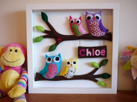 @ Natalie Houck. You could DIY this. 3D Personalised Felt Art  Rainbow Owl Family by MaisieMooNZ, $99.00