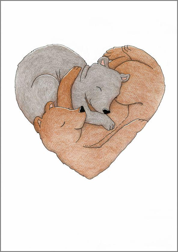 Sydänkarhut. Mantelinan A4-printti. Alkuperäinen kuva: Elina Jasu. / Heart of Bears. Art print made by Elina Jasu for Mantelina.