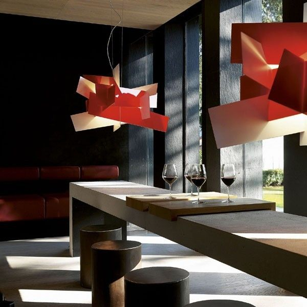 #Suspension lamp made of intersections of white or coloured metacrylate panels. #design - lighting design