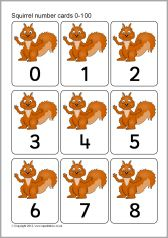Red squirrel number cards 0-100 (SB9051) - SparkleBox
