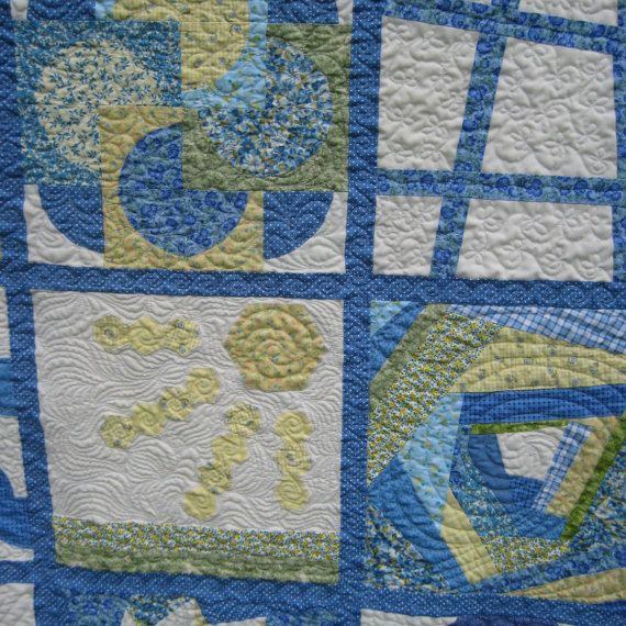 Patchwork Sampler Quilt, Unique Sofa Throw, Lap Quilt, Wall Hanging, summer colors of blue, green and yellow, custom quilted, one of a kind