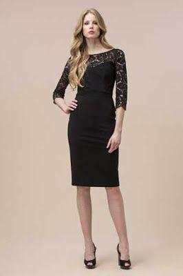 Luisa Spagnoli dantelli siyah elbise