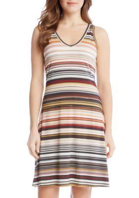 Karen Kane Women's Zigzag Stripe Dress - Multi - Xl
