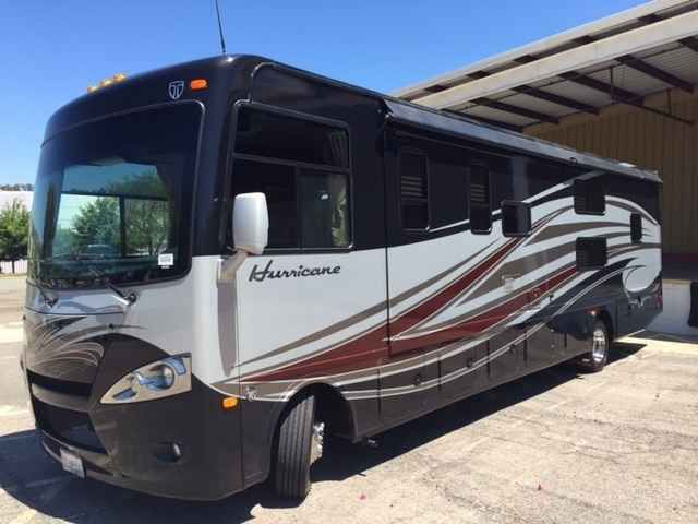 2014 Used Thor Motor Coach Hurricane Class A in California CA.Recreational Vehicle, rv, 2014 Thor Motor Coach Hurricane 34J Bunkhouse , This beautiful RV is priced to sell, below low retail. It is in excellent condition and includes a transferable 7 year/ 75,000 mile ZERO deductible extended warranty ($3,000 value). All maintenance has been done and is current including yearly rubber roof treatments. The RV has been stored indoors. A professionally installed a go-power solar panel and two 6…