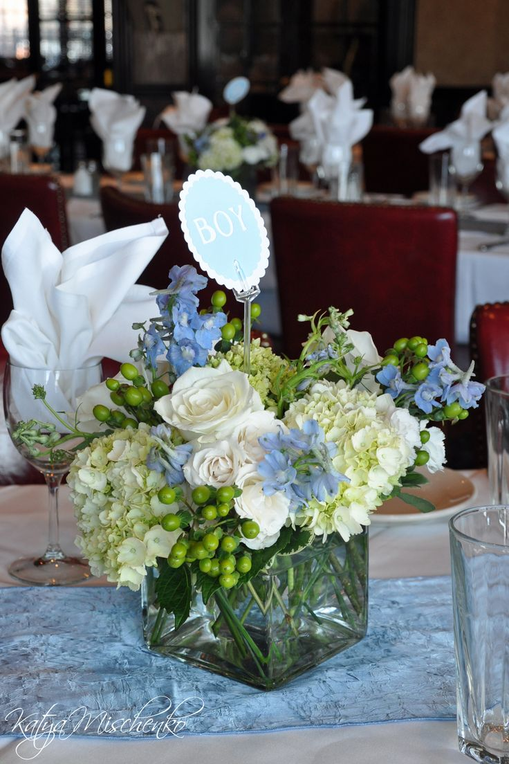 Baby Boy shower centerpieces by Katya Mischenko  https://www.facebook.com/KatyaMischenkoCustomFlorals