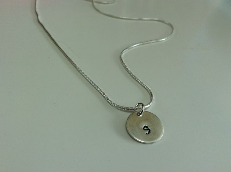 "Silver disc initial stamped on 16"" snake chain €27"