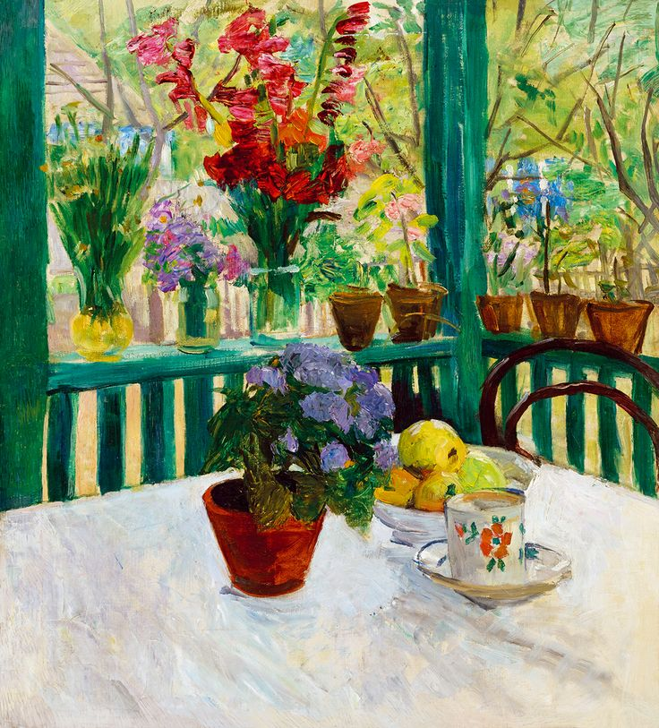 Red and purple painting of flowers by Ferenc Hatvany