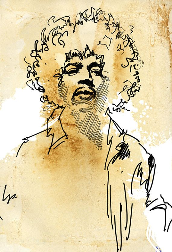 JIMI HENDRIX portrait, Rock and Roll, music art, illustration, Poster size, Canvas art print available in 18x24 or 24x36.