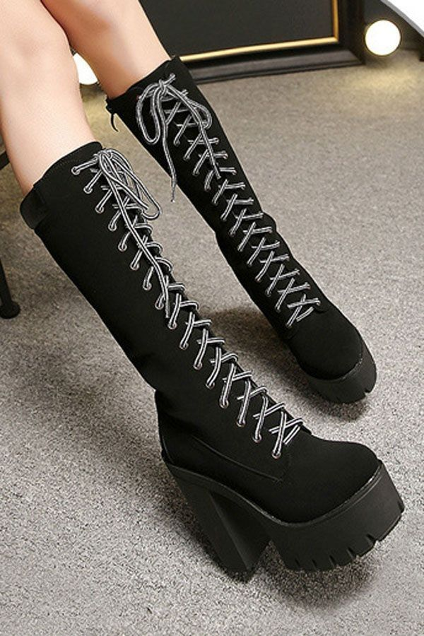 8ef512d5fe96 Black Pu Lace Up Platform Chunky Heel Mid Calf Boots   Womens Fashion Boots