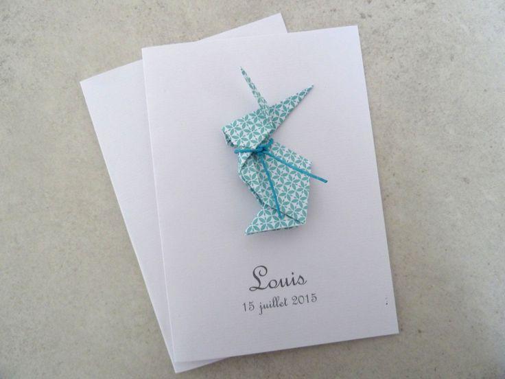 Faire part de naissance - baptême - carte de remerciement lapin en origami pour garçon turquoise : Faire-part par papierelief