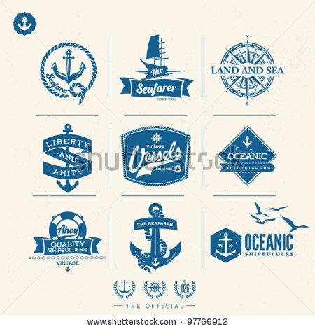 stock vector : Vintage Nautical Label set