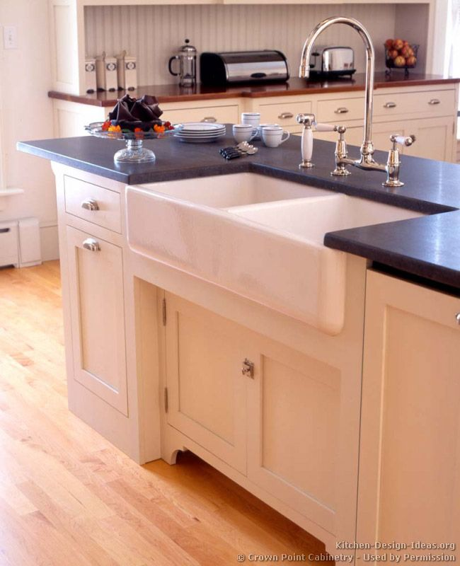 Idea Of The Day: A Traditional Kitchen Island With An Apron Sink,  Bridge Style Faucet, Soapstone Countertops, And Inset Cabinets. Victorian  Kitchen By Crown ...