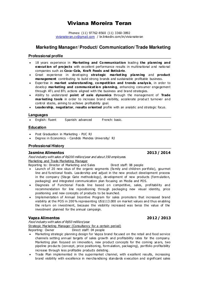 Marketing Manager Resume Objective Resume Viviana Teran Marketing Manager Product  Minouette .