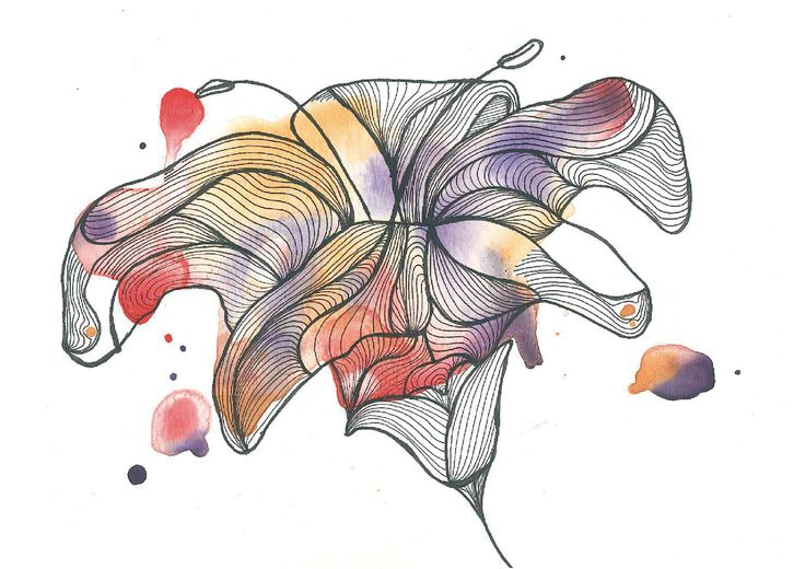 Flor / Flower N°6     . . . . Find me on #society6 #redbubble #lines #watercolor #acuarela #nature #graphic #design #art #flower
