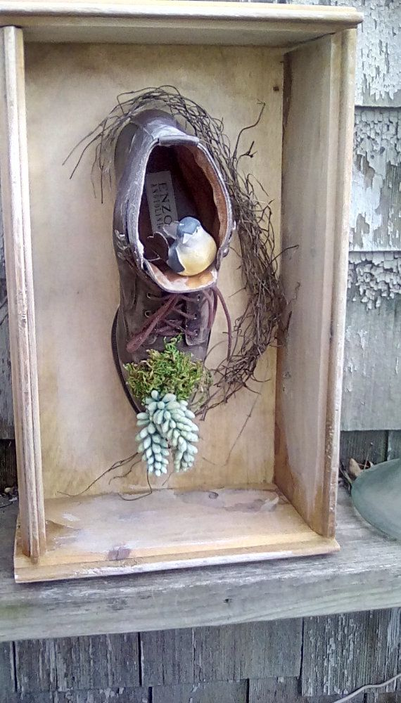 Birdhouse boot or boot planter,unique birdhouse,unique planter,salvaged barn siding,garden art
