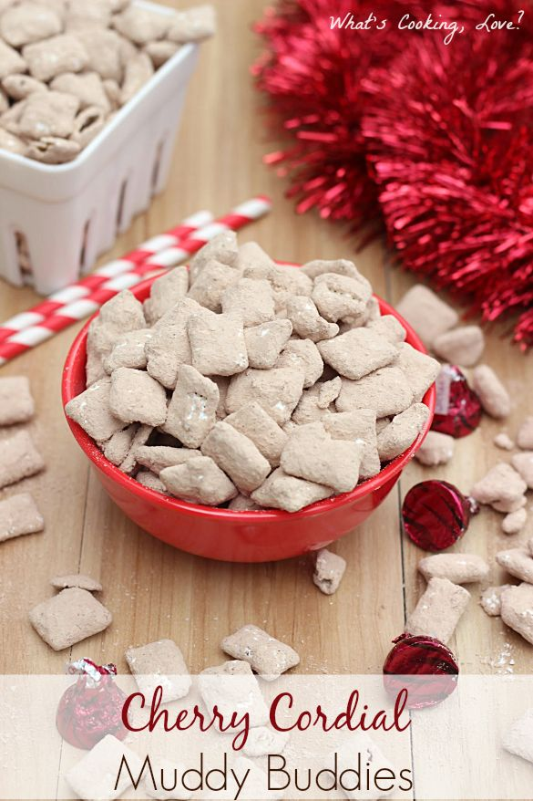 Cherry Cordial Muddy Buddies. A delicious and easy snack that tastes like chocolate covered cherries. #muddybuddies #snack #chocolate #cherry