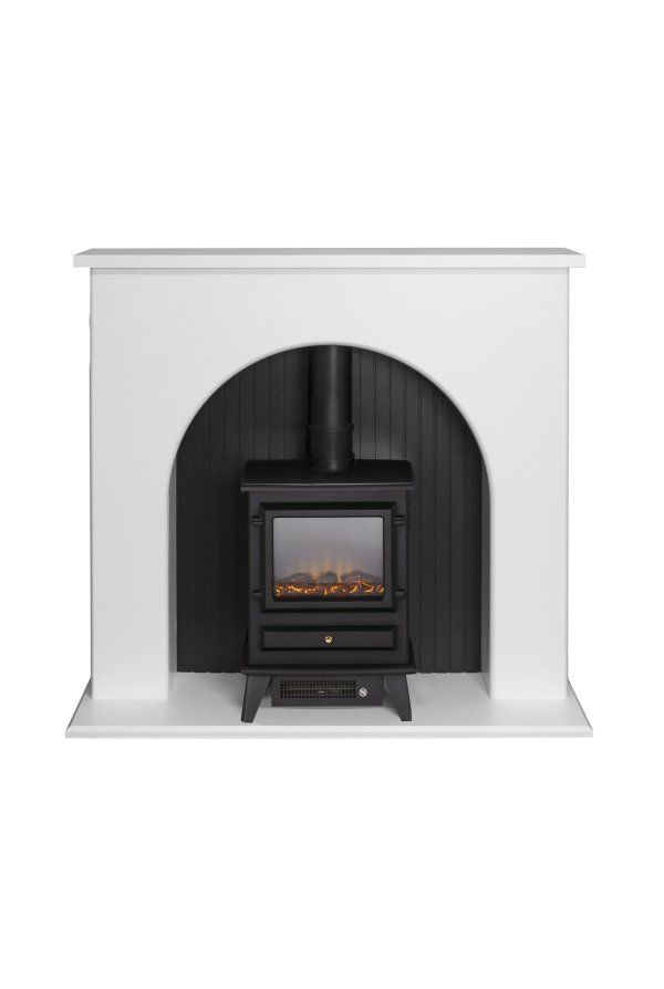 Adam Kirkham Stove Suite in Pure White with Hudson Electric Stove in Black 48 Inch | Fireplace World