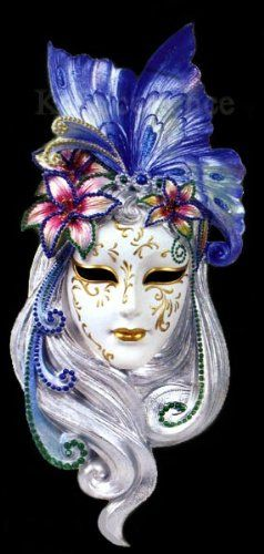 Art Deco Lady Butterfly Venetian Mask: