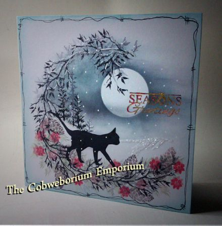 Seasons Greetings  -  handmade by Cobwebs, using (mainly) Card-io Stamps and ink pads.