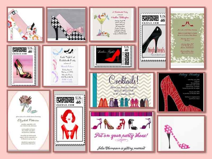 Shoe Theme Party Invitations Stamps 30th Birthday Parties60