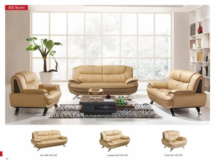 Beige Chic Italian Leather Sofa Esf 405 Modern Contemporary Modern With Images Leather Living Room Set